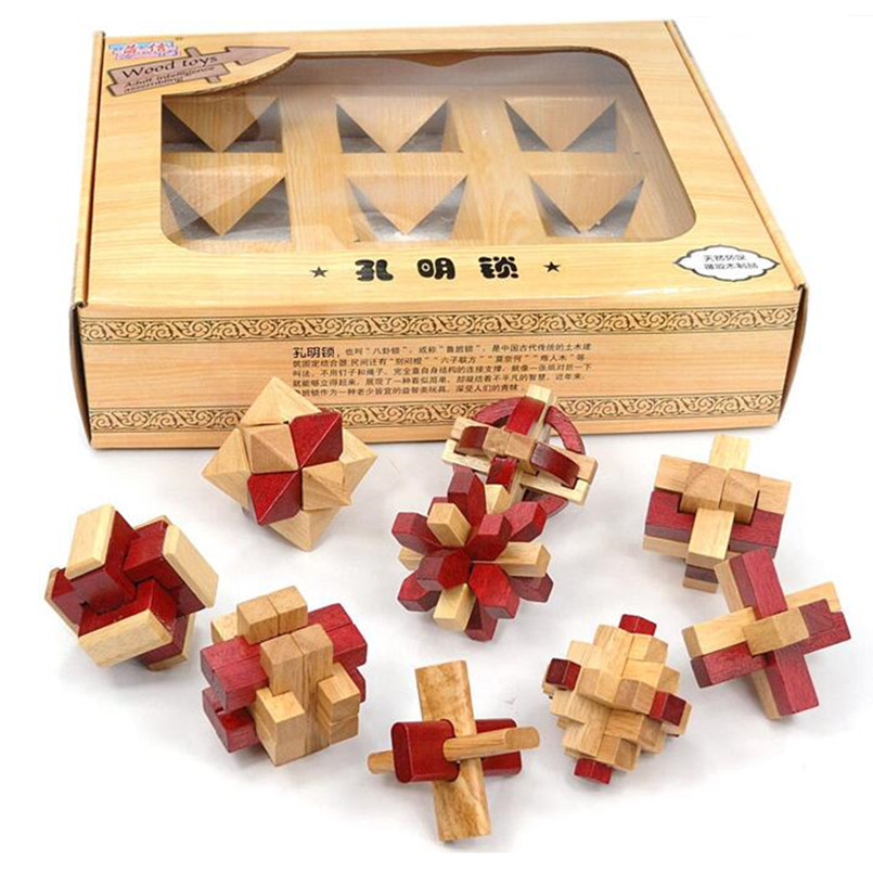 3D Wooden Puzzle IQ Brain Teaser Interlocking Burr Puzzles Game Toy for Adults Children,Classic Wood Kongming Locks 9 Pcs/Set