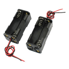 100pcs/lot MasterFire Black Plastic 2-Layers 4 x 1.5V AAA Battery Back To Back Holder Case Cover Box Storage with Wire Leads 3v 2 x aaa battery holder case box with leads