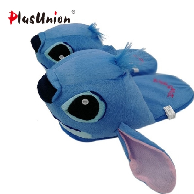 d080e7b6f17 Hot cute Stitch indoor cartoon winter furry soft anime slippers fluffy  autumn blue plush with fur shoes fuzzy home unisex women