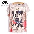 CAIXA CAYA, impressão 3D verão estilo Mickey prinit t shirt mulheres Tops Camisa da Parte Superior Das Mulheres Harajuku Roupas Femininas Encabeça Tshirt
