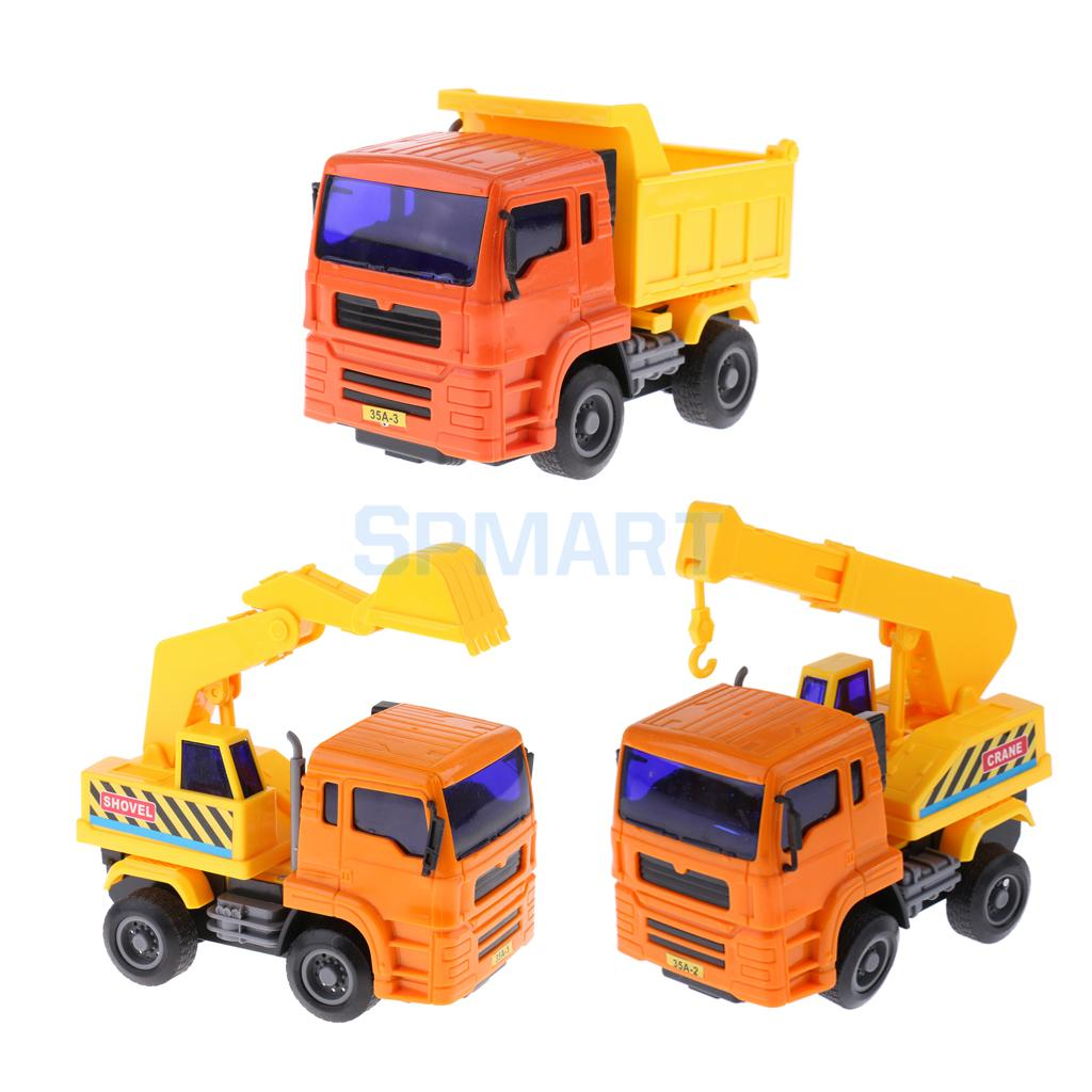 3pcs 1:64 Inertial Engineering Car Excavator/Crane/Dump Truck Model Kids Educational Toy Office Home Display Decor