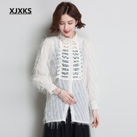 XJXKS 2019 autumn new women's shirt fashion hippocampus hair high quality comfortable casual long top women blouse