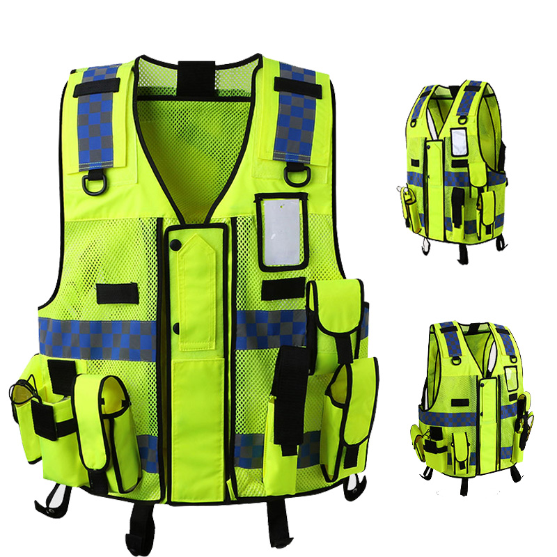 Multi function multi pocket safety reflective Security guard vest waistcoat with blue and white reflective strips multi function white radish style peeler