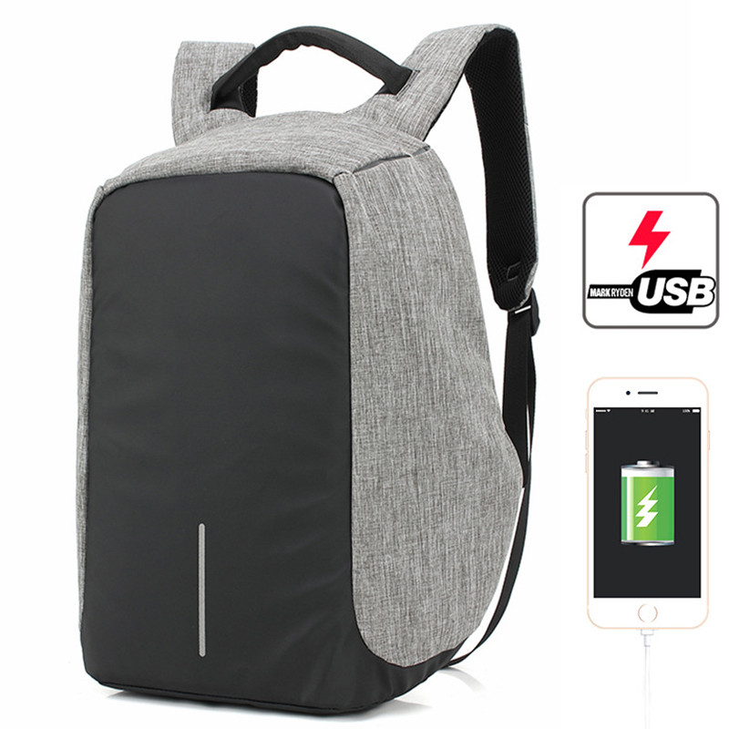 Anti-theft Laptop Backpack Unisex Student School Bag With Lock USB Charger Port For Macbook Backpacks Noterbook Bag P0.11