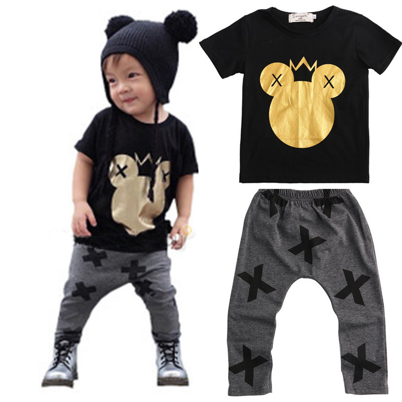 цены  Children T-shirt Tops Black + Pants Casual Infant Baby Kids Boys Clothes Sets Cartoon Minions Dark Gray 2pcs Cotton Sets Boys