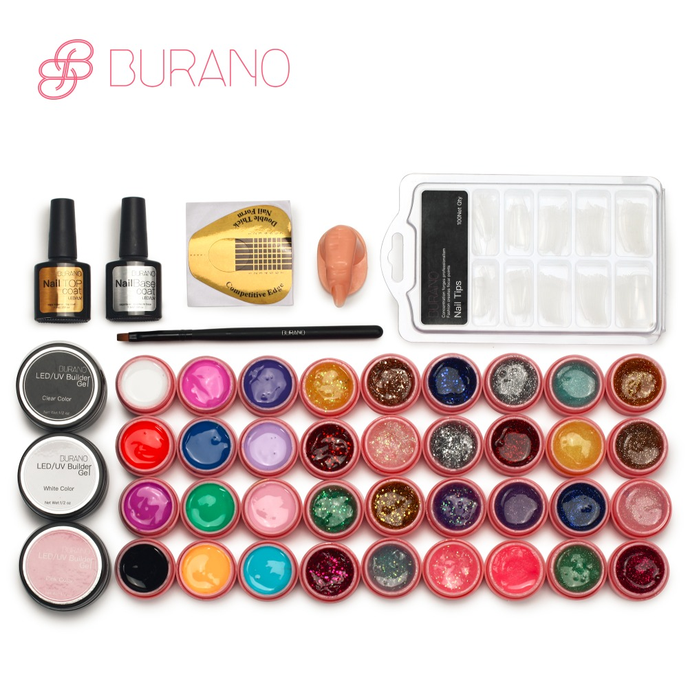 Burano Hot 36colors uv gel nail polish kit manicure set nail art tools topcoat building gel set 806