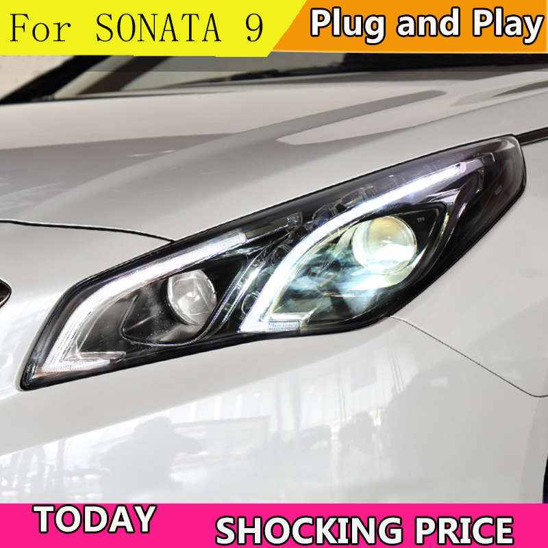Cars Styling Headlight For Hyundai Sonata9 Sonata 9 2015 Headlights LED Running lights Bi Xenon Beam