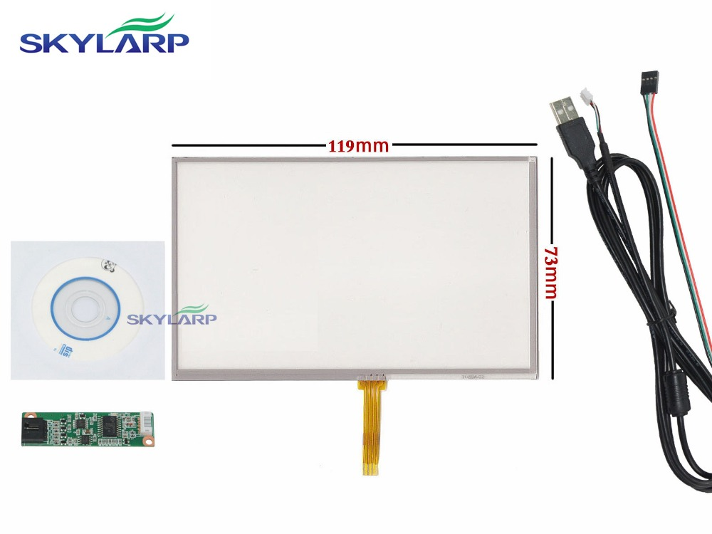 NEW 5 inch 4 Wire Resistive Touch Panel USB Controller For 5 AT050TN43 Screen touch panel Glass Free shipping