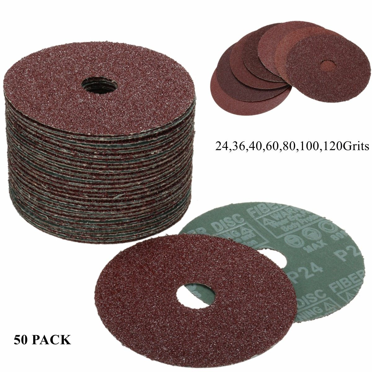 10Pc FIBRE DISCS 115mm//36 Grit Angle Grinder Sanding Pads Round Large Pack