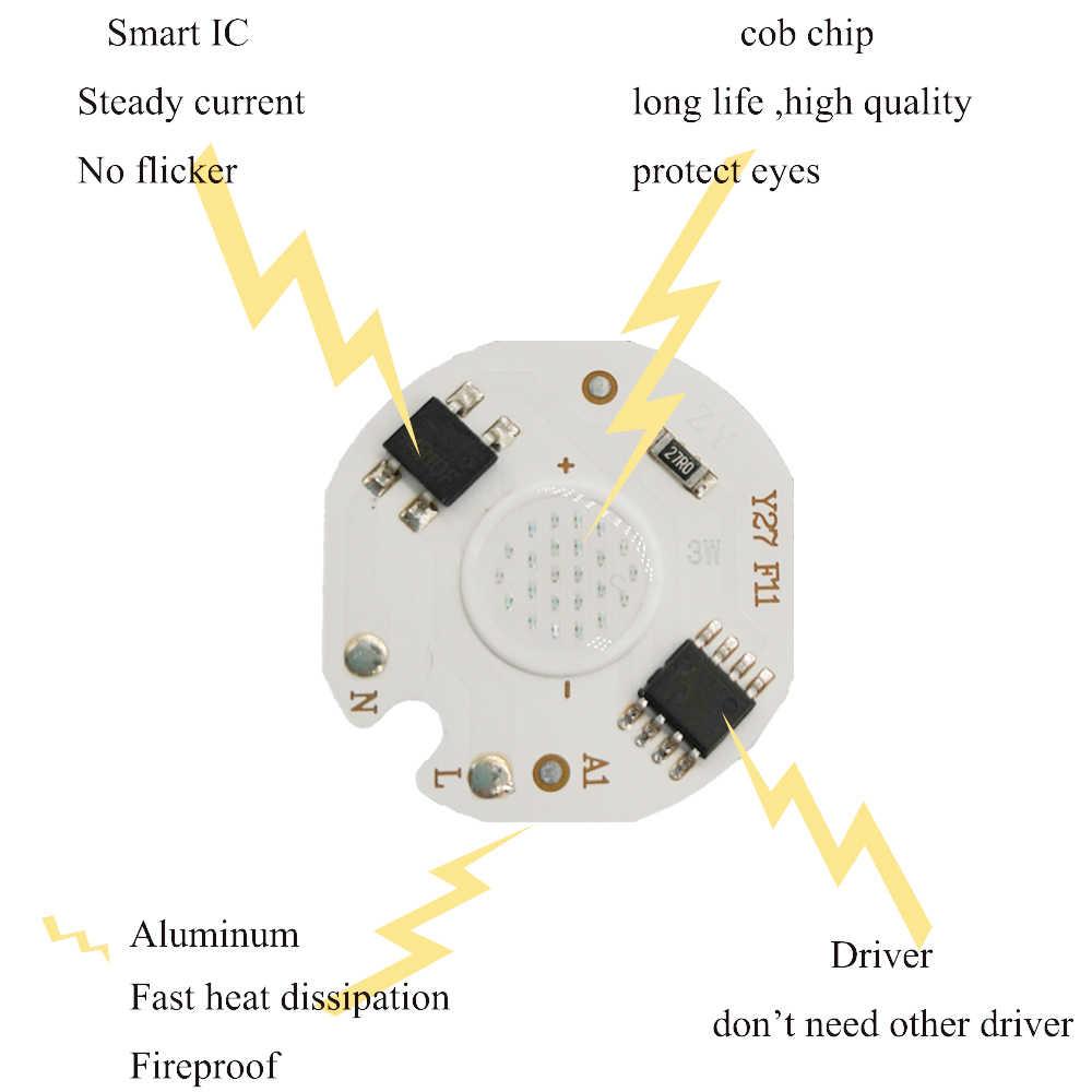 LED COB Chip Light 3W 5W 7W 9W 15W RGB AC220V No Need Driver Smart IC Bulb Lamp For Spot Encastrable Plafond Light Source LED