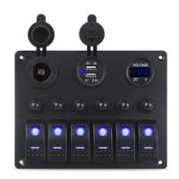 6 Gang Car Toggle Rocker Switch Panel with Fuse Overload Protection 12V Cigarette Socket Voltmeter 5v 3.1a USB Power Charger