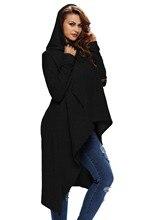 Для женщин Асимметричный толстовка с капюшоном 7 цветов осень-зима плюс Размеры Пуловер длинный рукав Drawstring длинные толстовки S-2XL