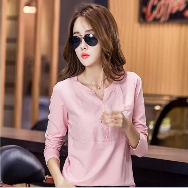 2017 Fashion Ladies Cotton Shirt Female shirt V-neck Plus Size Casual Loose Women Tops Shirts