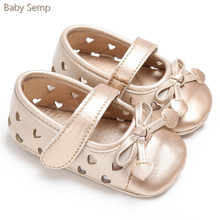 Baby Girl Gold Sandals 2017 New Arrival Summer Romirus Baby Sandals PU Leather Bow Infant Girl Sandals Heart Hole sandalia bebe