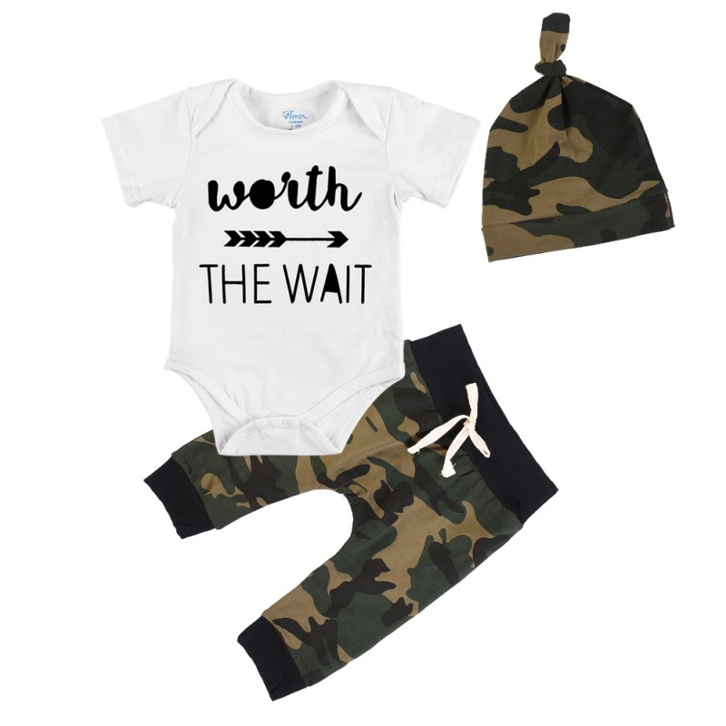 2017 Summer Baby Boys Clothes Short Sleeve O-Neck Outfits Infant Jumpsuit Long Camouflage Pants Clothing Set With Hat 3PCS cotton i must go print newborn infant baby boys clothes summer short sleeve rompers jumpsuit baby romper clothing outfits set
