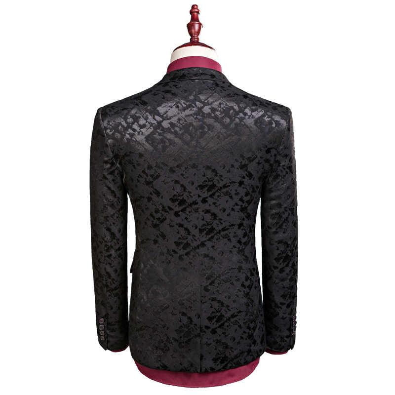 New men leisure single-breasted suits 3 pieces sets / Man's pure color business suit jacket blazers coat + vest +pants
