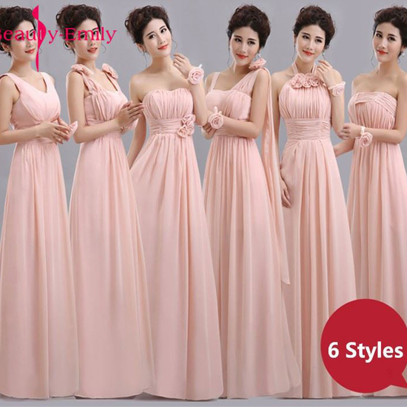 Beauty-Emily Cheap Long Chiffon Blush Pink Bridesmaid Dresses 2019 A-Line Vestido De Festa De Casamen Formal Party Prom Dresses(China)