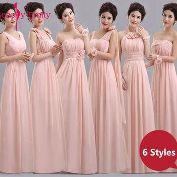 Beauty Emily Cheap Long Chiffon Blush Pink Bridesmaid Dresses 2020 A Line Vestido De Festa De