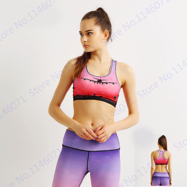 b92fc7d5a1 Slim Red Sunset Aircraft Female Yoga Bras Flying Airplane Yoga Shirt  Landing Airplane Sport Bras Purple Push Up Fitness Bras