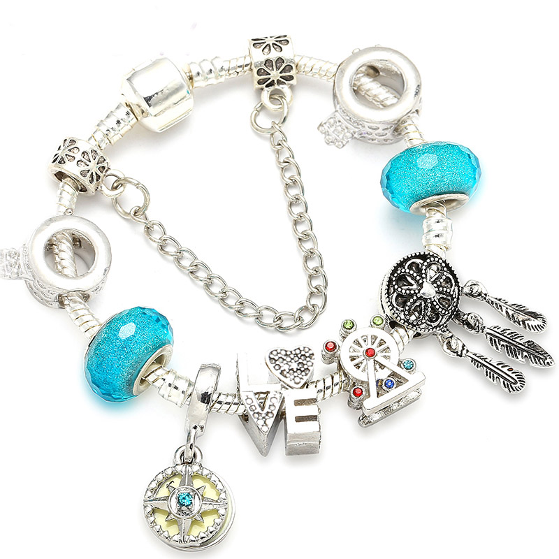 Dropshipping Antique Silver Charm Bracelets With Ferris Wheel Crystal Ball Beads Pandora Bracelets For Women Wedding Jewelry