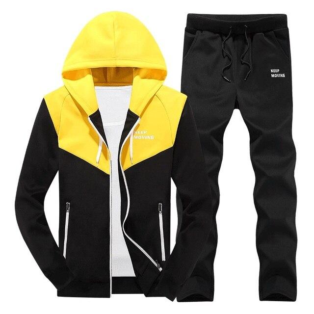 ASALI 2019 גברים אימוניות להאריך ימים יותר נים רוכסן Sportwear סטי זכר חולצות קרדיגן גברים סט בגדים + מכנסיים בתוספת גודל
