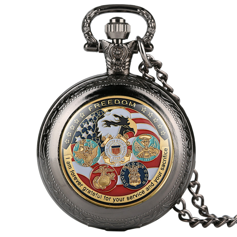 United States Army Pattern Pocket Watches For Women Men Chic Quartz Pocket Watch Retro Thin Chain Gift For Pocket Watch