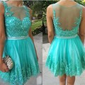 Elegant Cocktail Dresses 2016 robe de cocktail Cheap See Through Lace Appliques Short Homecoming Dresses Good Design
