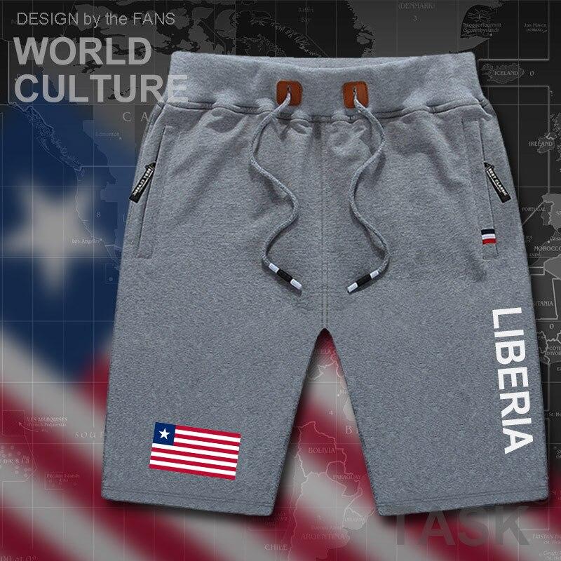 Calções de Praia dos Homens Shorts da Placa dos Homens Treino de Musculação Bolso com Zíper Libéria Liberiano Homem Bandeira Algodão Suor Marca lr Lbr 2020