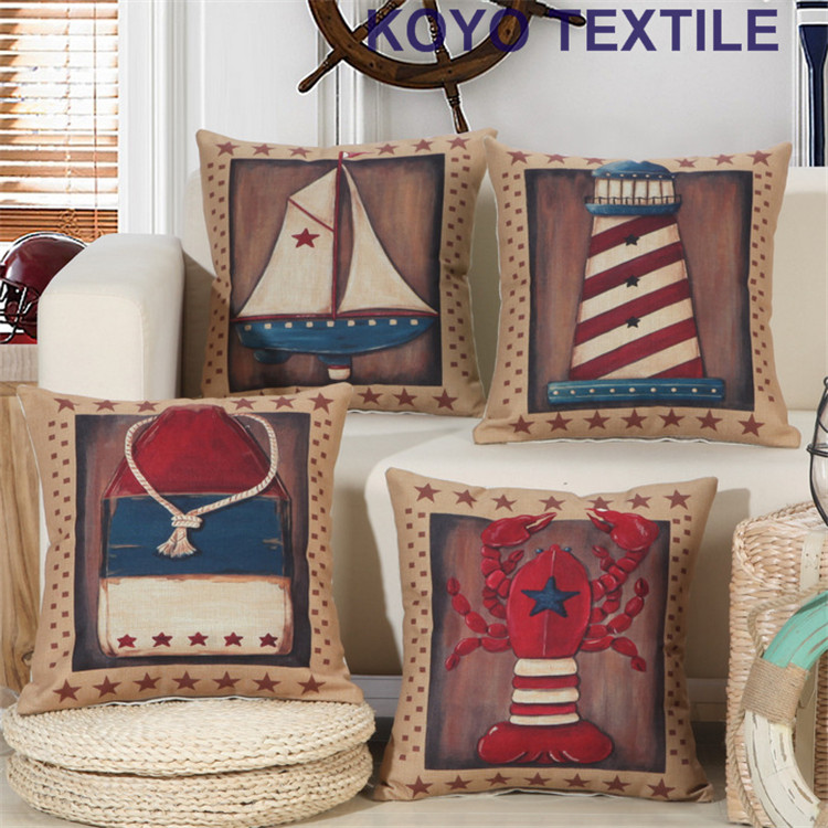 Vintage Watercolor Decorative Linen Ocean Navigation Light Tower Sailing  Boat Sea Marine Style Decoration Cushion Pillow Cover  In Cushion Cover  From Home ...