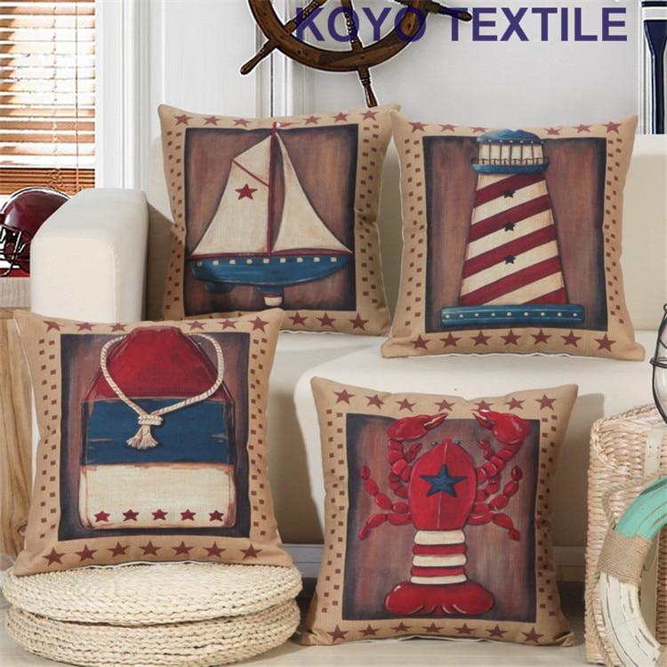 Vintage Watercolor Decorative Linen Ocean Navigation Light Tower Sailing Boat Sea Marine Style Decoration Cushion Pillow Cover
