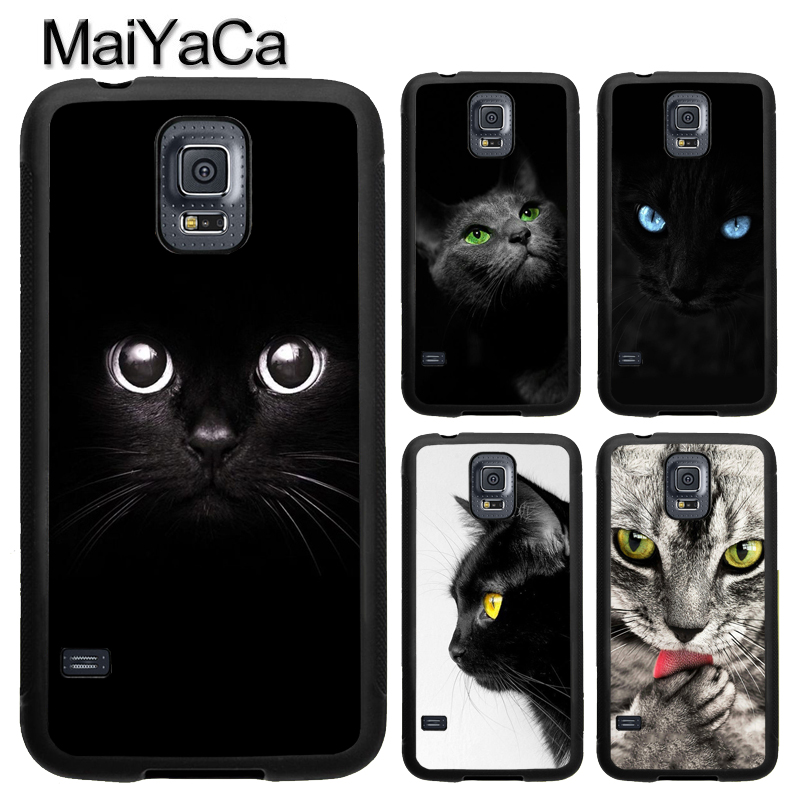 MaiYaCa Black Cat Staring Eyes Phone Case Fundas For Samsung S7 S4 S5 S6 edge S8 S9 plus Note 8 Note 4 Note 5 Back Cover Shell