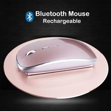 Новая мини-мышь с Bluetooth перезаряжаемая оптическая Бесшумная мышь для ноутбука для Apple Macbook Windows 10 OS, беспроводная Bluetooth 4,0 мышь