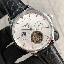High end יוקרה Tourbillon Mens מכאני טייס שעון Moonphase ספיר חיוג אמיתי ST8007 תנועה שעונים גברים לוח שנה מזדמן
