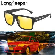 LongKeeper Night Vision Sunglasses Men Women Brand Designer Polarized Driver Goggles Anti-Glare Yellow Lens Driving Glasses