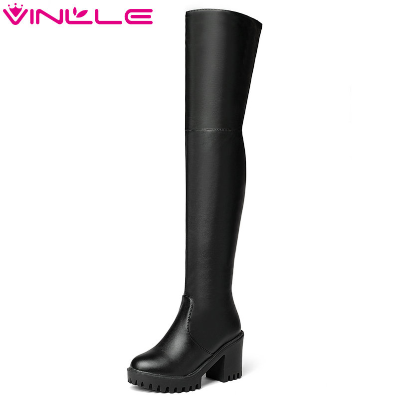 VINLLE 2018 Women Boots Winter Shoes Over The Knee Boots PU Leather Square High Heel Ladies Motorcycle Shoes Size 34-43 перфоратор dewalt d 25602 k