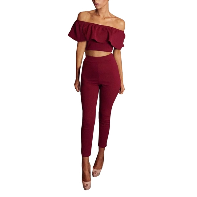 57236836828 ROPALIA Womens Jumpsuit Slash Neck Rompers Sexy Stretch Strapless Bodysuit  Flounced Skinny Party Playsuit Crop Top
