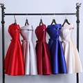 Robe de soiree 2017 Short Evening Dress Boat Neck Party Ball Gown vestido de festa vestito da sera prom dresses( 5 Colors )