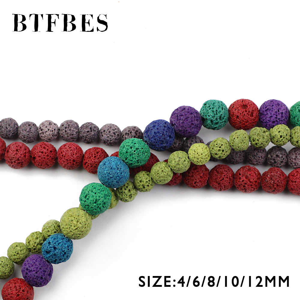BTFBES Multicolor Optional Colourful Lava Beads Volcanic Rock Natural Stone 4 6 8 10 12mm Beads For Jewelry Making Bracelet DIY