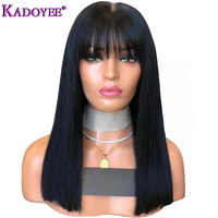 13x6 Lace Front Human Hair Wigs in Brazilian Human Hair Frontal Lace Wig Black Women Silky Straight Wig Middle Length with Bang
