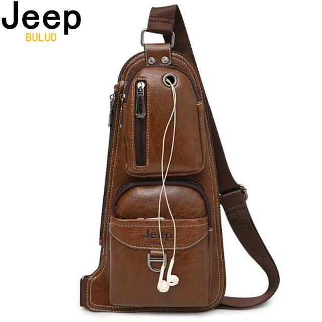 JEEP BULUO Homens Messenger Bags New Hot Bolsa de Ombro Crossbody Couro Sling Bag Peito Moda Casual do Homem de Marca Famosa 6196