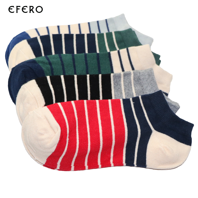 Underwear & Sleepwears Efero 1pair Short Socks Art Funny Socks Men Calcetines Hombre Stripe Compression Colorful Socks For Male Dress Cotton Sock Meias