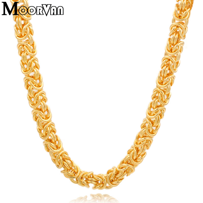 Moorvan Fashion 9mm/7mm width gold color men stainless steel coarse necklaces links chains byzantine for boys gift VN168 fashion twill pattern 5cm width color block tie for men