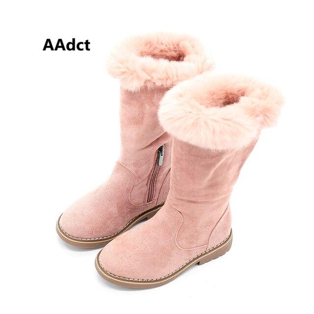 AAdct/2017 г. ботинки принцессы для девочек, брендовые Детские Высокие сапоги высокого качества для девочек, меховые хлопковые теплые зимние новые детские сапоги