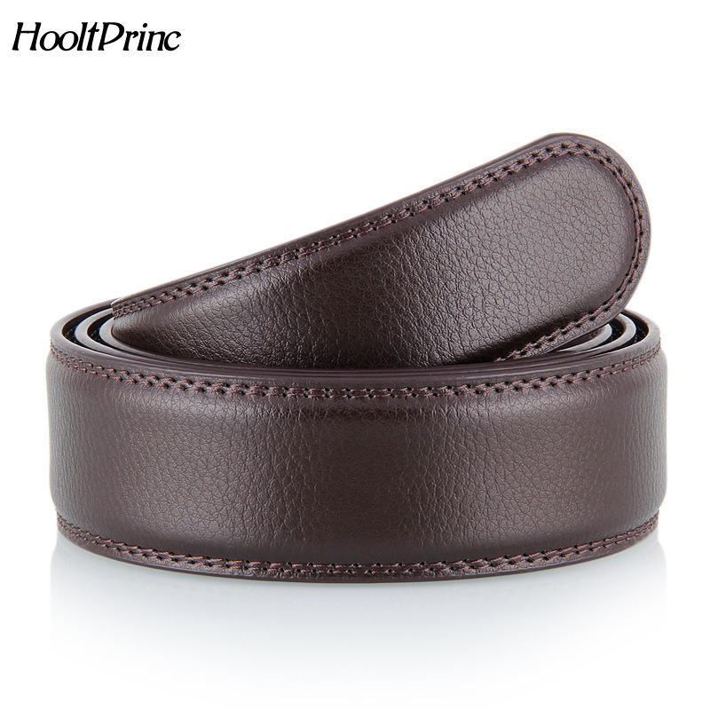 No Buckle Designer Mens Belts Body 3.5cm Wide Split Leather High Quality Men Automatic Belt Body Kemer Black Coffee
