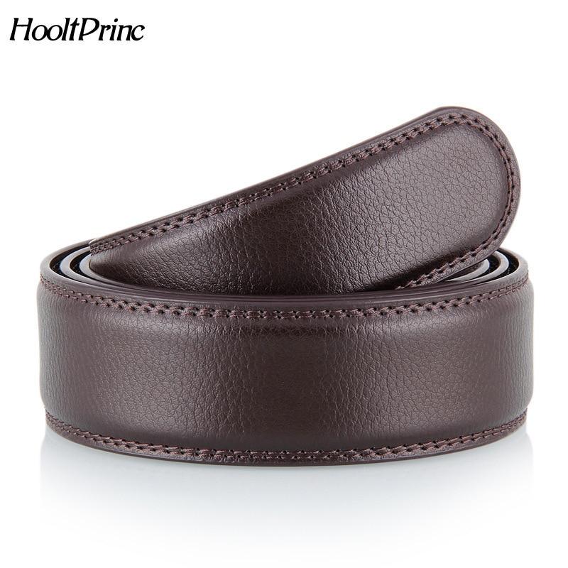 No Buckle Designer Mens Belts Body 3.5cm Wide Split Leather High Quality Men Automatic Belt Body Kemer Black Coffee