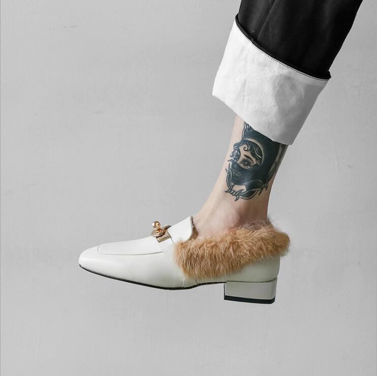 Décoration Chaud Avec Paresseux Tendance Lapin Talons Métal Véritable Fourrure Femelle 2018 Mode Cuir Nouvelle Chaussures La Pompes En Femmes De p1x6BFq