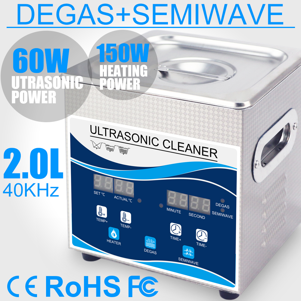 2L Ultrasonic Cleaner SUS Bath 60W Timer Heater Degas Household Remove Oli Rust Earring Jewelry Glasses Optical Tools Dental glasses cleaner jewelry 2l stainless bath 60w ultrasonic cleaner 40khz timer setting 1 30mins home washer dental brushes