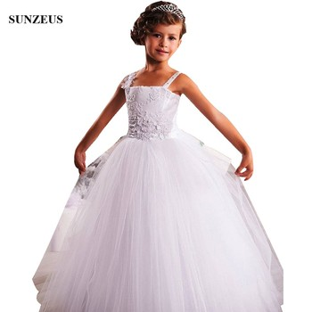 Robe Enfant Mariage A-line Spaghetti Straps Flower Girl Dress With Appliques Flowers Long White Party Gowns abiyeler FLG110