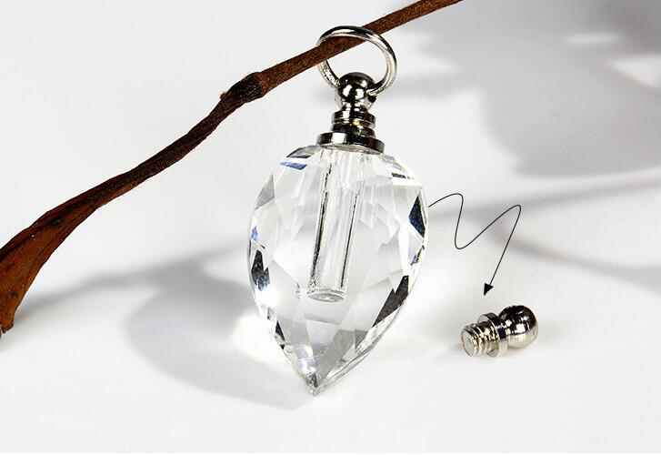 1 Small Glass Vial Pendant Bottle With Silver Screw Cap