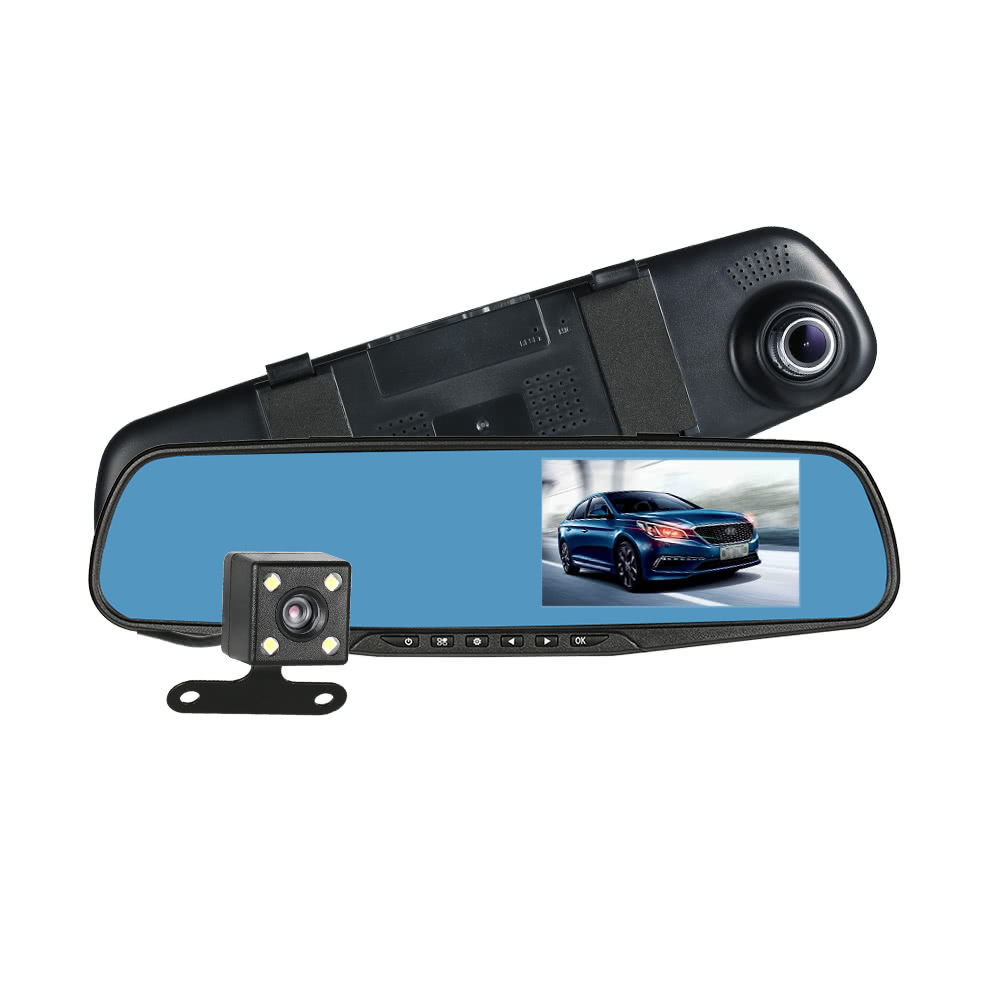 JunHom FHD 1080P 4.3'' Dual Lens Car DVR Rear View Mirror Dash Cam Video Camera Recorder For Driving Recording Car Detector bigbigroad wifi car mini dvr driving video recorder dash cam dual lens car black box front cam with rear view camera hd 1080p